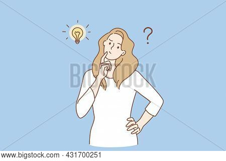 Frustration, Doubt And Question Concept. Young Frustrated Woman Cartoon Character Standing Feeling D