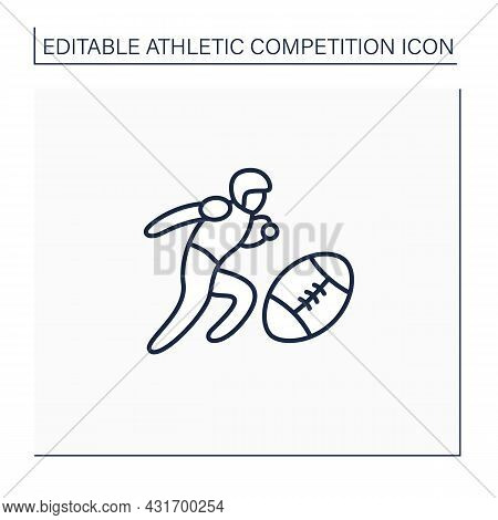 Sport Line Icon. Team Sports. Olympic Game. An Oval-shaped Ball, Special Sportswear, Football Kind.
