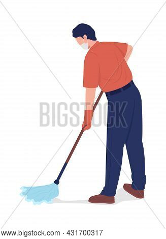 Cleaner Mopping Floor Semi Flat Color Vector Character. Male With Mop Figure. Full Body Person On Wh