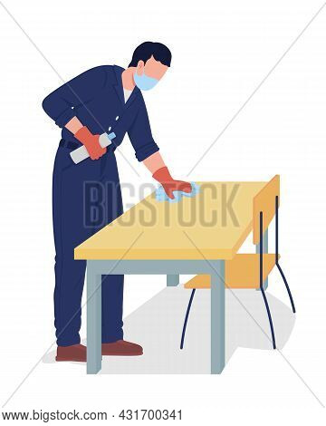 Janitor Wipe Desk Surface Semi Flat Color Vector Character. Male Adult Figure. Full Body Person On W