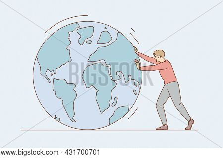 Environmental Conversation And Save Earth Concept. Young Man Cartoon Character Pulling Planet Earth