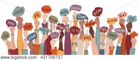 Many Arms Raised Of Diverse And Multi-ethnic People Holding Speech Bubbles With Text -hallo- In Vari