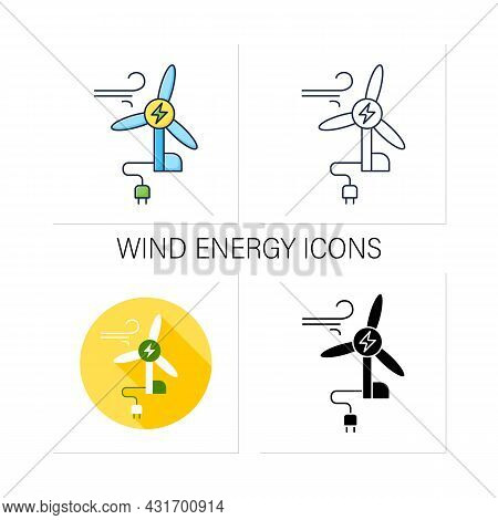 Wind Energy Icons Set. Conversion Of Power From Wind Into Electricity. Windmill. Electricity. Renewa