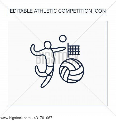 Sport Line Icon. Game Played By Two Teams. Ball Game. Player Use Hands To Bat Ball. Athletic Competi