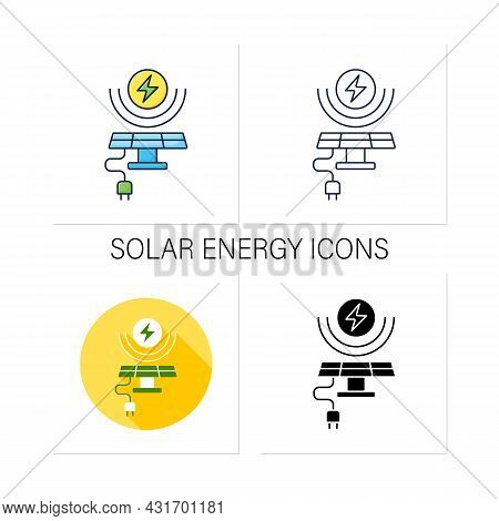 Solar Energy Icons Set. Conversion Of Power From Sunlight Into Electricity. Solar Battery. Renewable