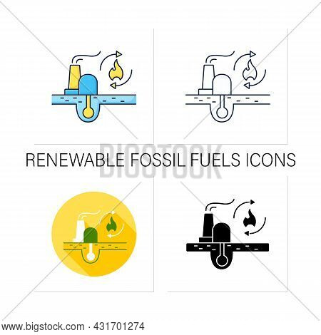 Renewable Fossil Fuels Icons Set. Heat Source. Energy Converted To Electricity. Electricity Station
