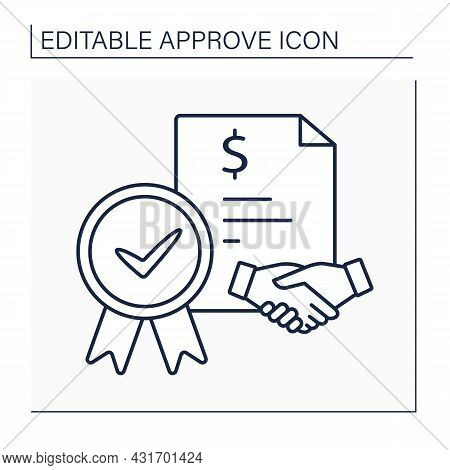 Loan Agreement Line Icon. Law Approved Document. Notary Approving Agreement With Bank And Client. Cr