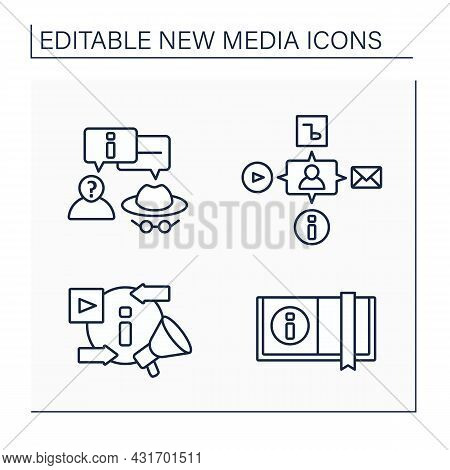 New Media Line Icons Set.anonymous Communication, Book, Media, Exchanging And Promoting New Content.