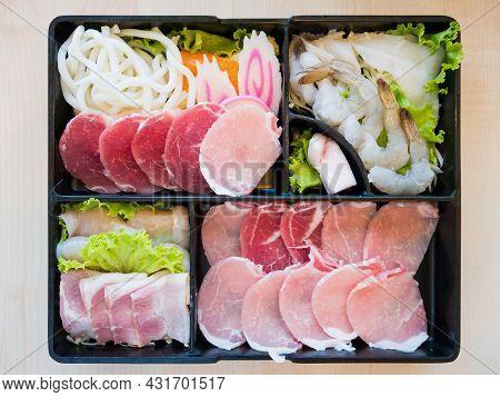 Pork Belly Slice, Prawn, Noodles And Squid Slice On Plate, For Sukoyaki, Shabu Shabu Or Korean Grill