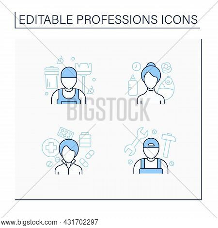 Professions Line Icons Set. Nanny, Janitor, Pharmacist And Handyman. Various Professions. Important
