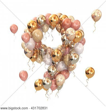Baloon bunch in form of number nine 9 isolated on white. Text letter for age, holiday, birthday, celebration. 3d illustration