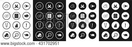 Set Chicken Leg, Burger, Steak Meat, Fresh Frozen Steak, Crossed Sausage, Knife And Meat Tongs Icon.
