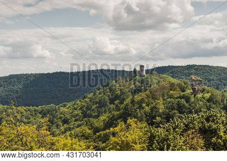 View Of The Palatinate Forest With The Ruins Of Anebos And Scharfenberg, Rhineland-palatinate, Germa