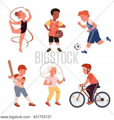 Cartoon Cute Happy Boy Girl Run, Child Play Football Soccer, Baseball And Tennis, Jump Rope, Active