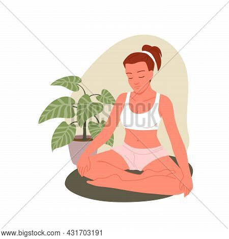 People Practice Yoga Asana At Home, Young Woman Sitting In Lotus Position, Padmasana