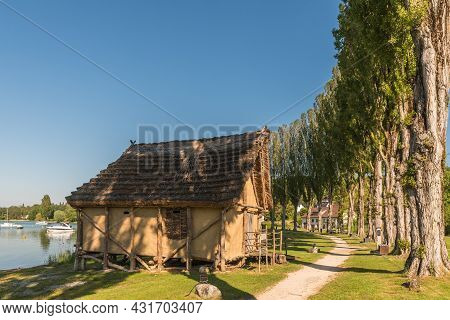 Reconstructed Pile Dwelling In Wangen On Lake Constance, Baden-wuerttemberg, Germany