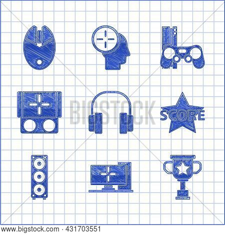 Set Headphones, Computer Monitor, Award Cup, Star, Stereo Speaker, Portable Video Game Console, Game