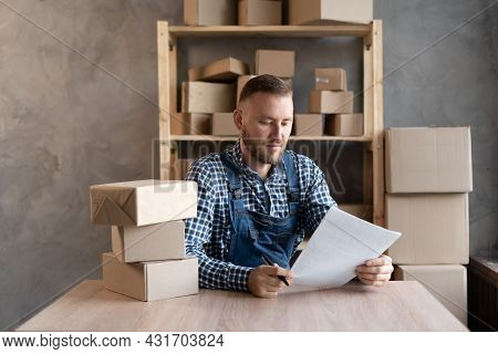 Small Business Owner Delivery Service. Business Owner Revises Credit Calculation. Post Office.
