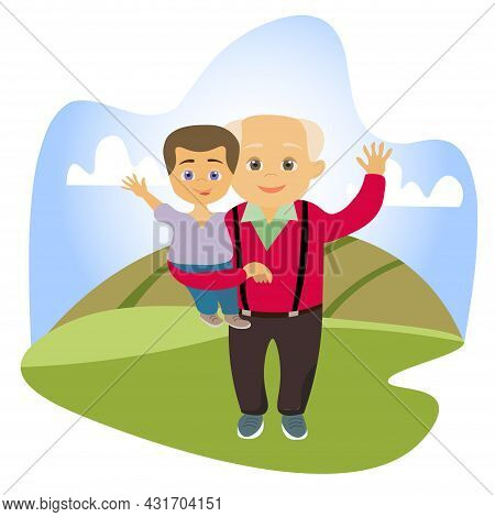Little Boy Is Sitting In The Arms Of His Grandfather. Friendly Family. An Elderly Man With His Grand