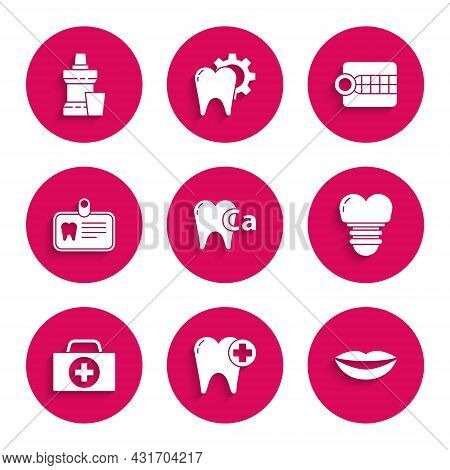 Set Calcium For Tooth, Tooth, Smiling Lips, Dental Implant, First Aid Kit, Id Card With, Dentures Mo