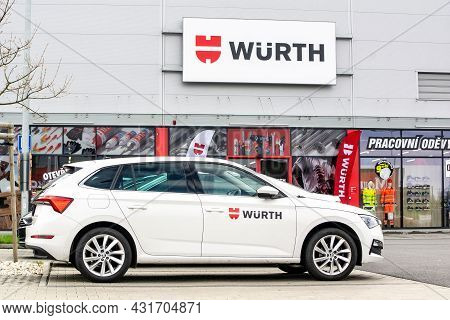 Ostrava, Czech Republic - May 3, 2021: Skoda Scala Fleet Car In Front Of The Store Of Wurth Company