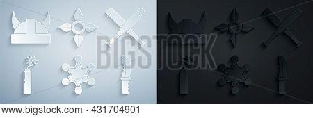 Set Police Badge, Crossed Baseball Bat, Dynamite Bomb Stick Clock, Military Knife, Japanese Ninja Sh