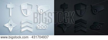 Set Military Rank, Cannon, Japanese Ninja Shuriken, Tank, Shield And Battle Hammer Icon. Vector
