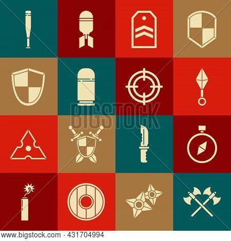 Set Crossed Medieval Axes, Compass, Japanese Ninja Shuriken, Chevron, Cartridges, Shield, Baseball B