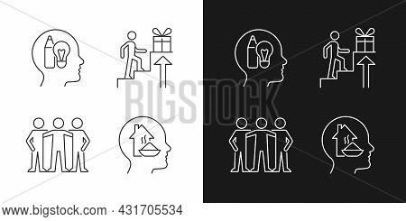 Motivational Boosters Linear Icons Set For Dark And Light Mode. Desire To Belong To Community. Custo