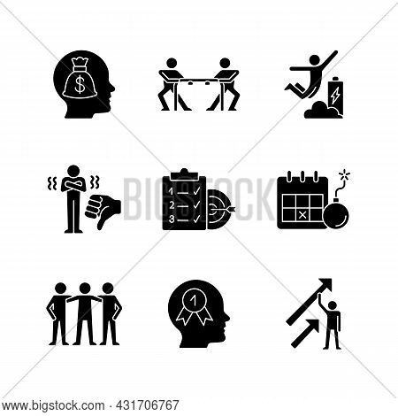 Motivation Stimulus Black Glyph Icons Set On White Space. Money Reward. Desire To Win. Positive Dyna