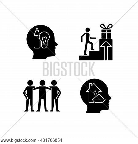 Motivational Boosters Black Glyph Icons Set On White Space. Reward And Affiliate Motivation. Human B