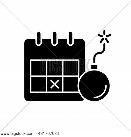 Meeting Deadline Black Glyph Icon. Complete Task Within Time Frame. Force To Action. Finish Project