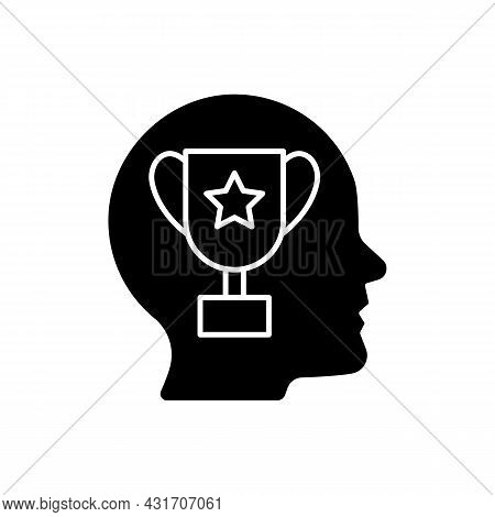 Achievement Motivation Black Glyph Icon. Person Need To Succeed At Something. Desire To Reach Goal.