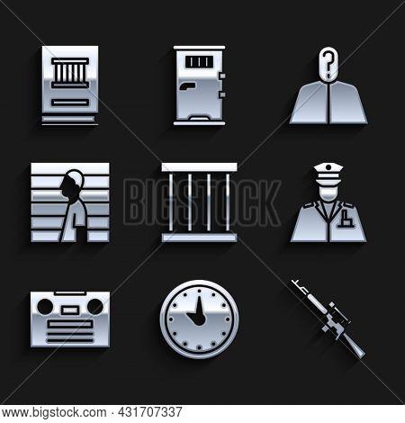 Set Prison Window, Clock, Sniper Rifle With Scope, Police Officer, Retro Audio Cassette Tape, Suspec