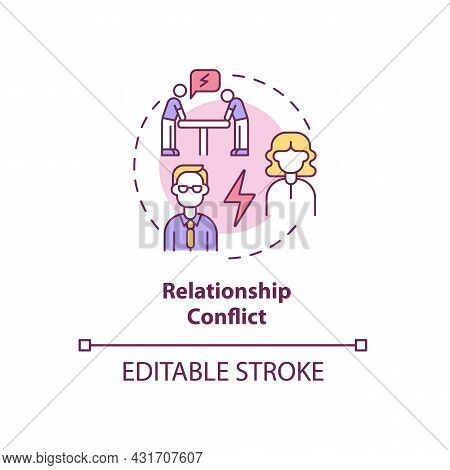 Relationship Conflict Concept Icon. Employee Rivalry On Workplace. Coworkers Fighting. Conflict Mana
