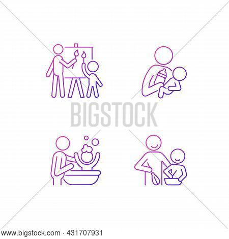 Parent-child Bonding Gradient Linear Vector Icons Set. Painting Together. Bottle Feeding. Bathing Ch