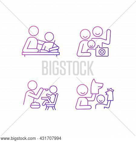 Effective Parenting Style Gradient Linear Vector Icons Set. Helping With Homework. Family Portrait.