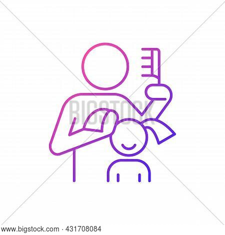 Braiding Daughter Pigtails Gradient Linear Vector Icon. Bonding Experience. Brush Child Hair. Develo