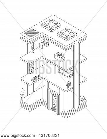 Sketch Of Business Building Isometric With Offices And Interior Furniture. Modern 3d Urban Office. G
