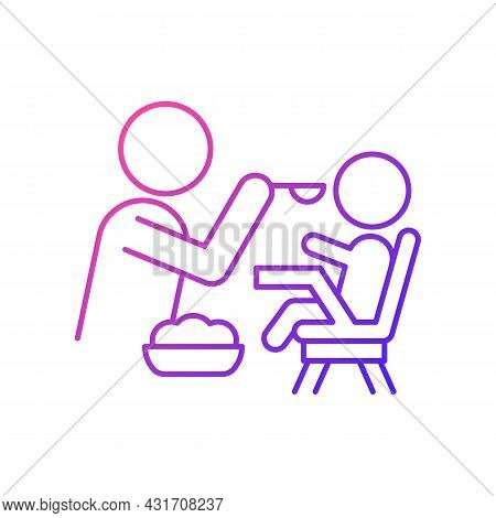 Feeding In Highchair Gradient Linear Vector Icon. Helping Baby Eating. Bonding With Child During Mea