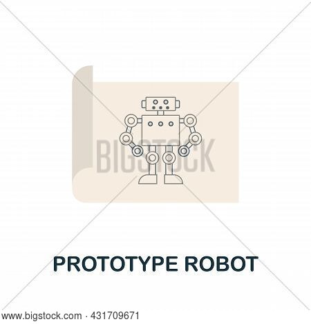 Prototype Robot Flat Icon. Colored Sign From Robotics Engineering Collection. Creative Prototype Rob