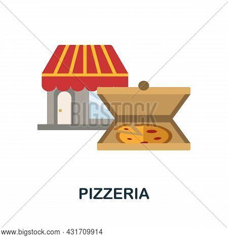 Pizzeria Flat Icon. Colored Sign From Small Business Collection. Creative Pizzeria Icon Illustration