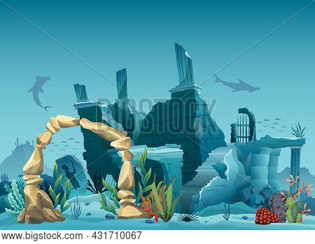 Underwater Ruins Of The Old City And Sandstone Arch. Silhouette Of Blue Sea Background. Natural Unde