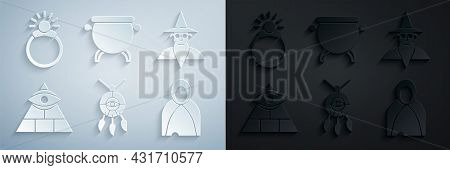 Set Dream Catcher With Feathers, Wizard Warlock, Masons, Mantle, Cloak, Cape, Witch Cauldron And Mag