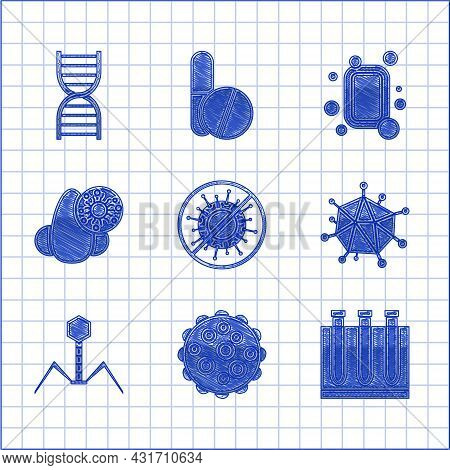 Set Stop Virus, Virus, Blood Test And, Bacteria Bacteriophage, Runny Nose, Bar Of Soap And Dna Symbo