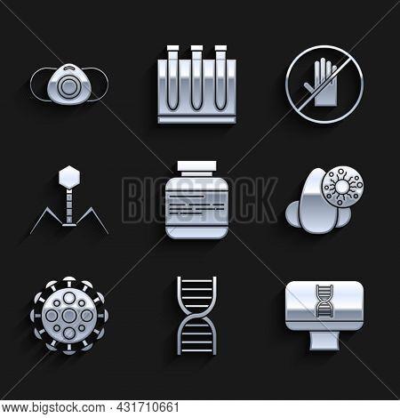 Set Medicine Bottle And Pills, Dna Symbol, Spiral Computer, Runny Nose Virus, Virus, Bacteria Bacter