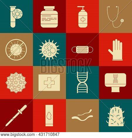 Set Rabies Virus, Dna Spiral And Computer, Medical Rubber Gloves, Bottle Of Liquid Antibacterial Soa