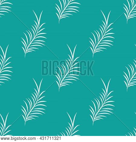 White Tropical Leaves On A Green Background. Exotic Tropical Botanic Seamless Pattern.