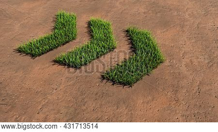 Concept or conceptual green summer lawn grass symbol shape on brown soil or earth background, dangerous turn road sign. 3d illustration metaphor for caution, warning, safety and guidance