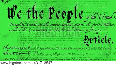 Digital image of a written constitution of the United States moving in the screen against a yellow green background 4k